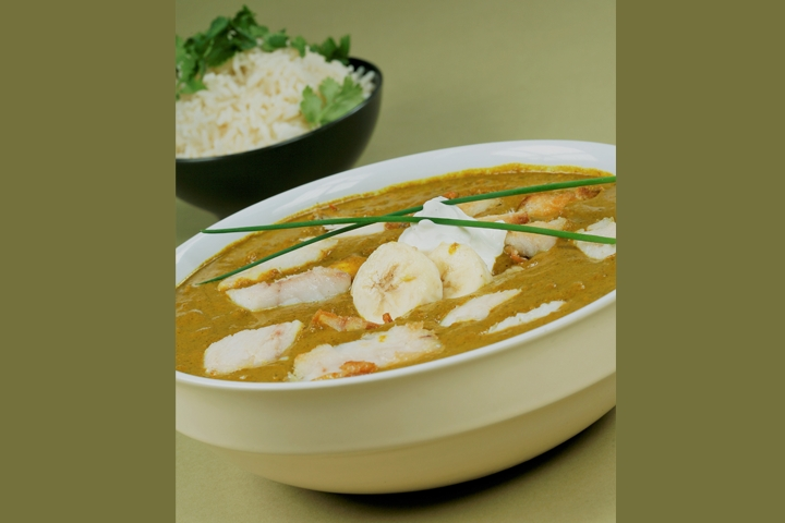 Banana Coconut Curry With Prawns